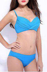 Elegant Spaghetti Strap Solid Color Twist Bikini For Women -