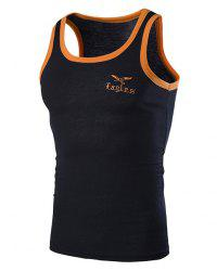 Round Neck Edging Design Letters and Eagle Embroidered Sleeveless Tank Top For Men - BLACK L