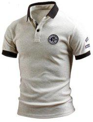 Turn-Down Collar Color Block Splicing Applique Embellished Short Sleeve Men's Polo T-Shirt - GRAY XL
