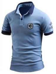 Turn-Down Collar Color Block Splicing Applique Embellished Short Sleeve Men's Polo T-Shirt