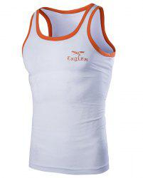 Round Neck Edging Design Letters and Eagle Embroidered Sleeveless Tank Top For Men - WHITE