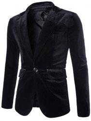 Fashion Lapel Pocket Edging Design Slimming Long Sleeve Corduroy Blazer For Men - BLACK