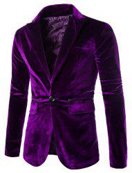 Fashion Lapel Pocket Edging Design Slimming Long Sleeve Corduroy Blazer For Men - PURPLE