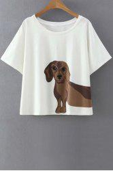 Sweet Round Neck Short Sleeve Puppy Pattern Women's White T-Shirt