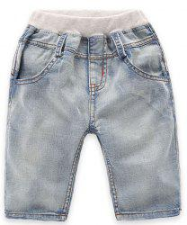 Fashionable Pocket Design Striped Denim Shorts For Boy