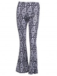 High-Waisted Geometric Patterned Flare Pants