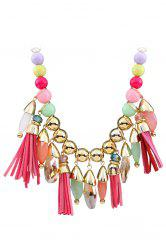 Ethnic Faux Leather Tassel Multi-Layered Necklace For Women -