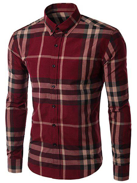 Minceur manches longues Plaid Men Turn Down Collar Shirt