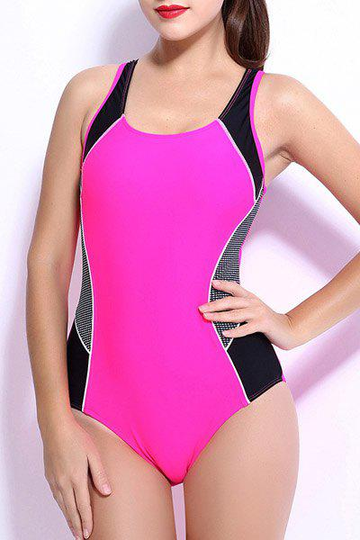 Outfits Chic Hit Color Backless One-Piece Racerback Swimwear For Women