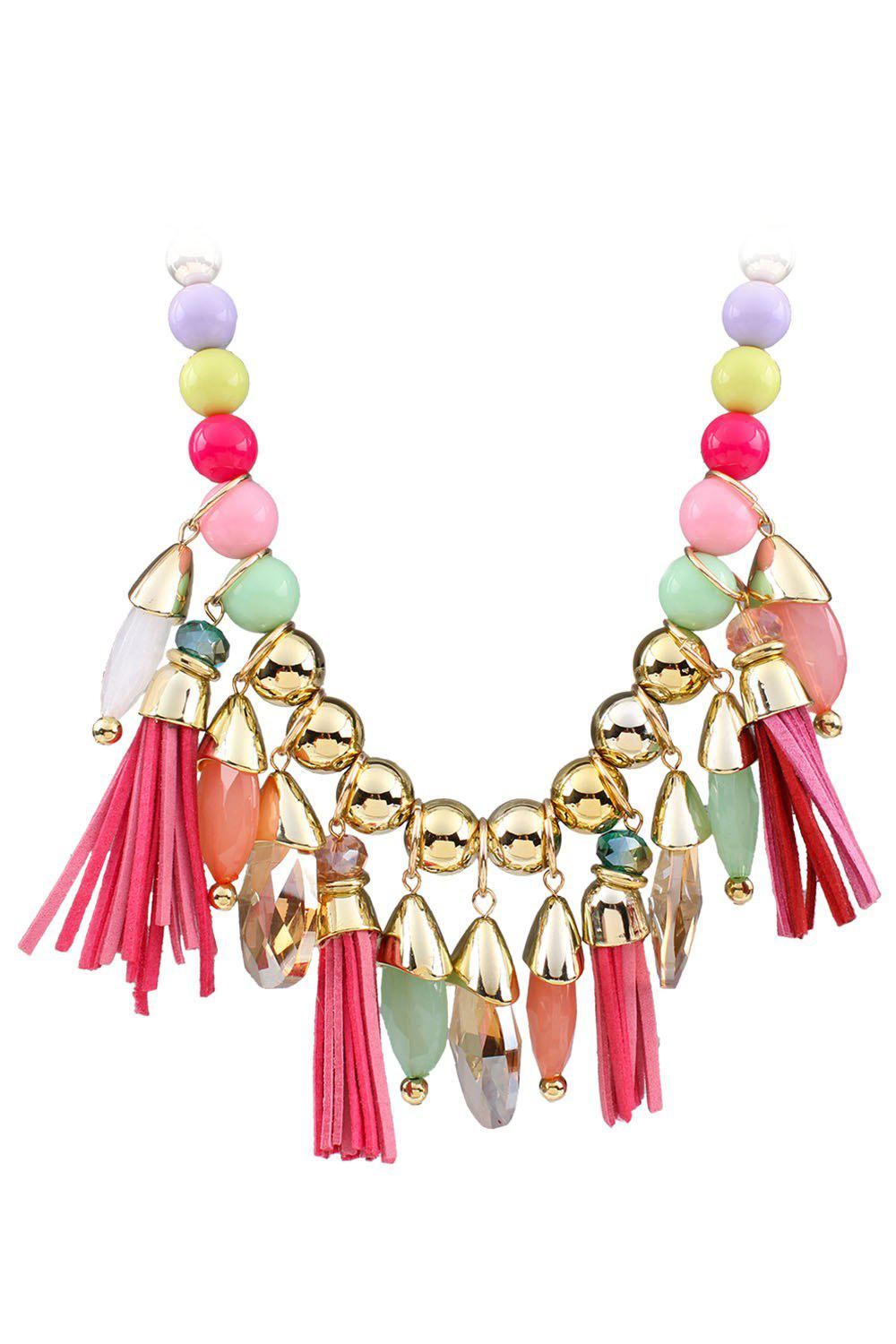 Affordable Ethnic Faux Leather Tassel Multi-Layered Necklace For Women