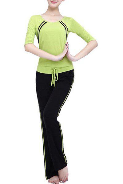 Yoga Suit Casual manches 3/4 Scoop Neck Striped Drawstring femmes