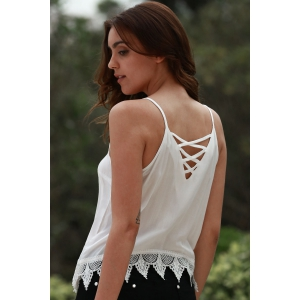 Lace Up Scoop Neck Cami Tank Top - WHITE S