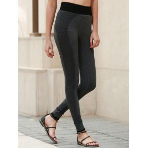 Active Elastic Waist Skinny Yoga Pants For Women - DEEP GRAY S