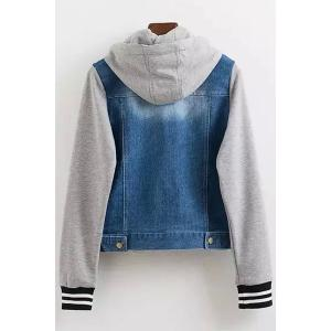 Stylish Long Sleeve Casual Hooded Denim Splicing Women's Coat -