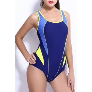 Trendy Color Block Backless One-Piece Racerback Swimwear For Women - YELLOW XL