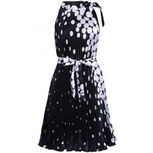 Vintage Round Collar Sleeveless Polka Dot Pleated Dress For Women
