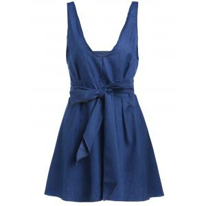 Plunge Mini Skater Backless Denim Dress - Royal Blue - S