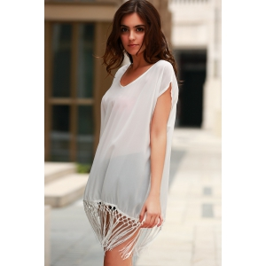 Fashionable Scoop Neck Solid Color Fringe Short Sleeve Cover-Up For Women -