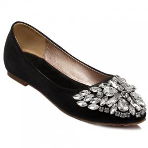 Casual Solid Colour and Rhinestones Design Flat Shoes For Women - Black - 37