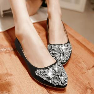 Casual Solid Colour and Rhinestones Design Flat Shoes For Women - BLACK 37