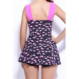 Sweetheart Neck Birds Print Skirted One Piece Swimwear For Women - BLACK/PINK S
