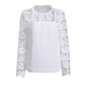 Stylish Scoop Neck Long Sleeve Crochet Flower Spliced Women's Blouse - White - M