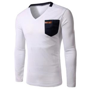 Slimming V-Neck Single Pocket Long Sleeves T-Shirt For Men