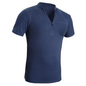 Stand Collar Solid Color Patch Pocket Short Sleeve Men's T-Shirt -