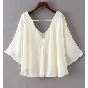Chic V-Neck Chiffon Blouse For Women -