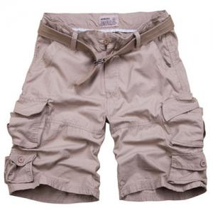 Zipper Fly Pockets Design Straight Leg Shorts For Men - Nude - S