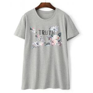 Simple Round Neck Flower and Letter Print Short Sleeve T-Shirt For Women -