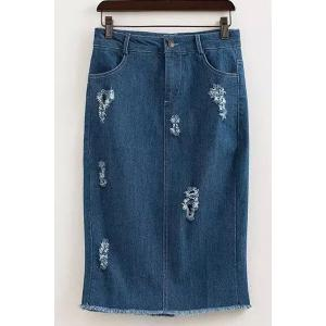 High Waist Distressed Denim Skirt -