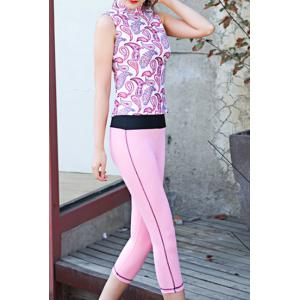 Sports Stand Collar Sleeveless Printed Women's Activewear Suit -