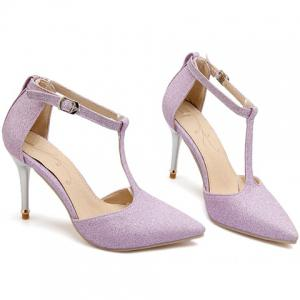 Elegant Pointed Toe and T-Strap Design Pumps For Women - LIGHT PURPLE 34