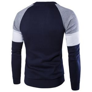 Round Neck Buttons Embellished Color Block Splicing Long Sleeve Sweatshirt For Men -
