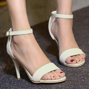 Graceful Stiletto Heel and Solid Color Design Sandals For Women -