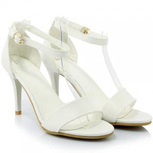 Graceful Stiletto Heel and Solid Color Design Sandals For Women - WHITE 36