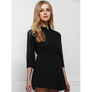 Stylish Shirt Collar Long Sleeve Hollow Out Solid Color Dress For Women -