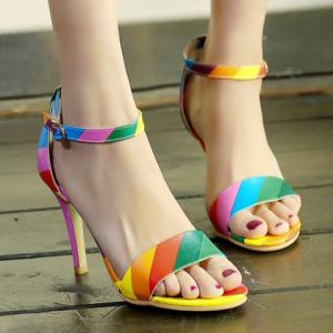 Trendy Iridescent Color and Stiletto Heel Design Sandals For Women - COLORMIX 34