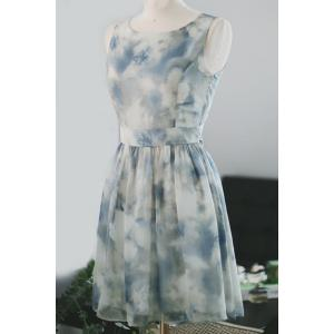 Sweet Scoop Neck Tie Dye Summer Dress For Women -