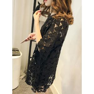 Cute Round Collar Hollow Out 3/4 Sleeve Dress For Women -