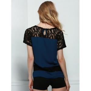 Stylish Round Neck Short Sleeve Hollow Out Lace Spliced Blouse For Women - PURPLISH BLUE S
