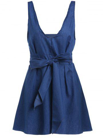 Outfits Sleeveless Halter Open Back Lace Up Denim Skater Dress ROYAL BLUE S