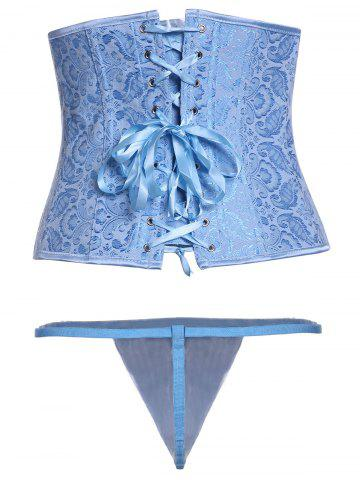 Buy Graceful Blue Lace-Up Steel Boned Underbust Corset For Women - L BLUE Mobile