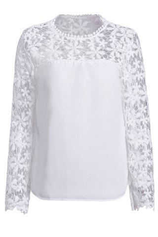 Trendy Stylish Scoop Neck Long Sleeve Crochet Flower Spliced Women's Blouse WHITE XL
