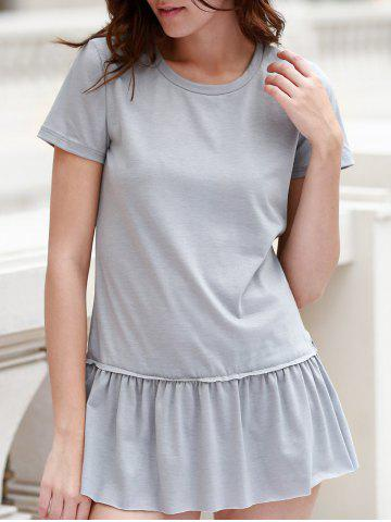 Online Stylish Round Neck Short Sleeve Solid Color Pleated T-Shirt For Women