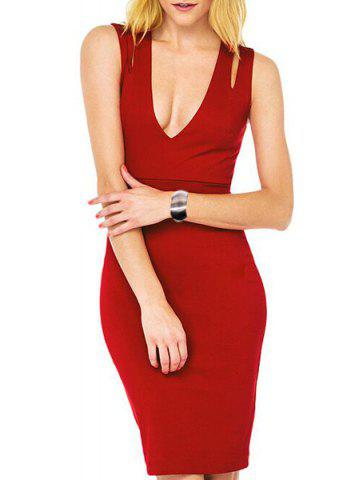 Plunging Neck Sleeveless Hollow Out Bodycon Dress For Women 173495707