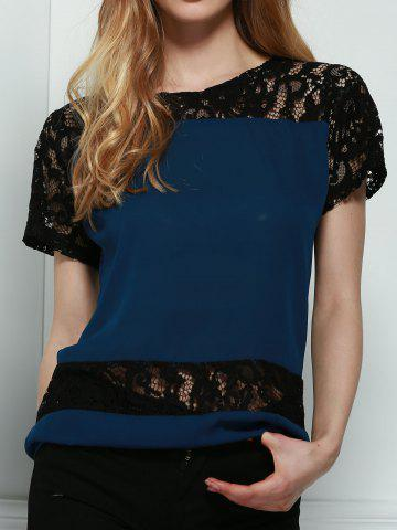 Outfit Stylish Round Neck Short Sleeve Hollow Out Lace Spliced Blouse For Women PURPLISH BLUE S