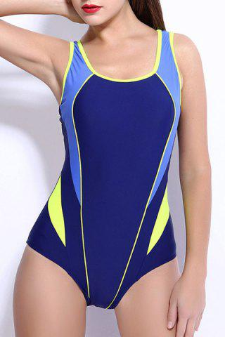 Latest Trendy Color Block Backless One-Piece Racerback Swimwear For Women YELLOW XL