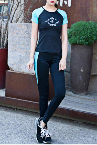 Round Collar Short Sleeves Printed Bodycon Activewear Suit 173466603